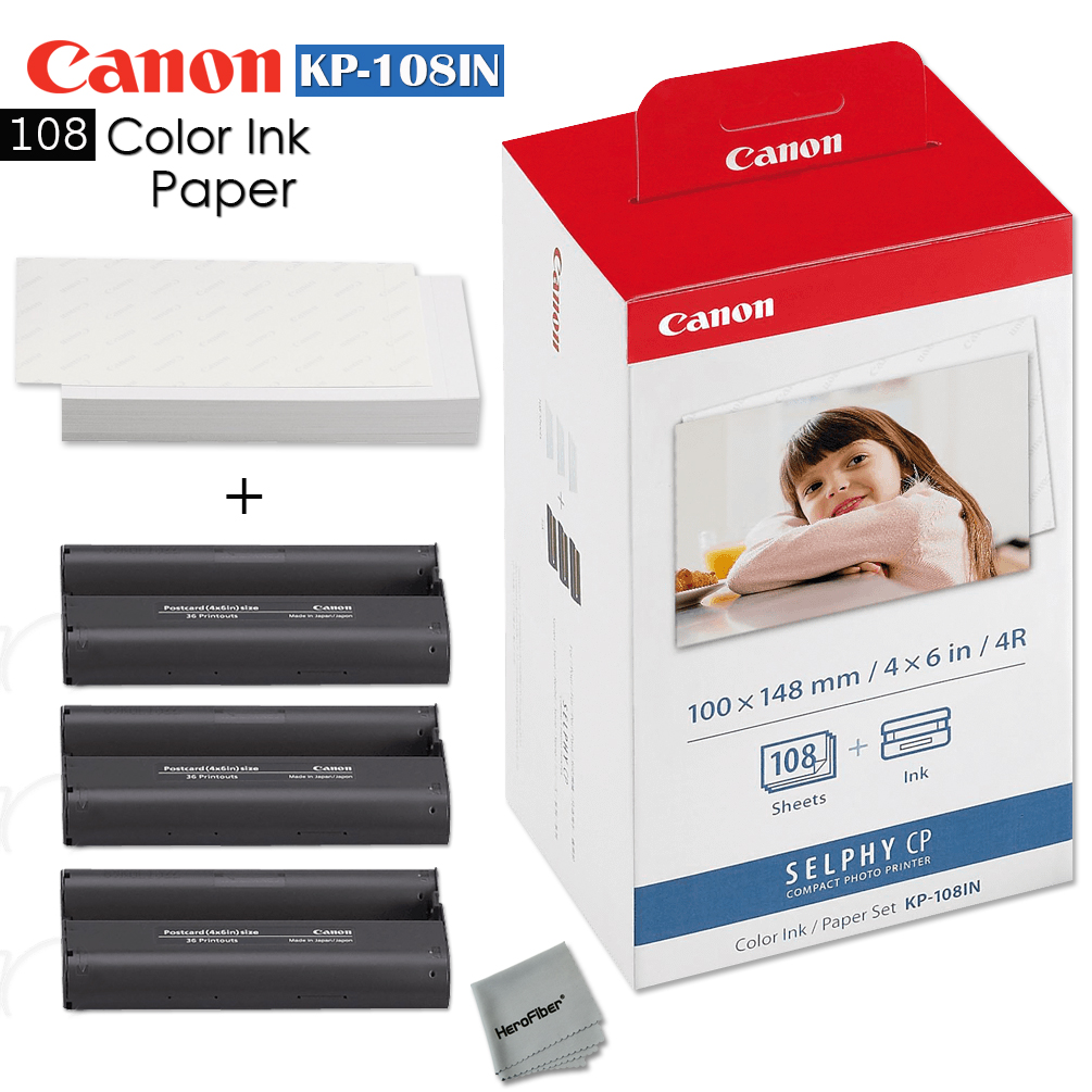 Canon Kp 108in Color Ink Paper 108 Sheets For Canon Selphy Cp1200 Ebay