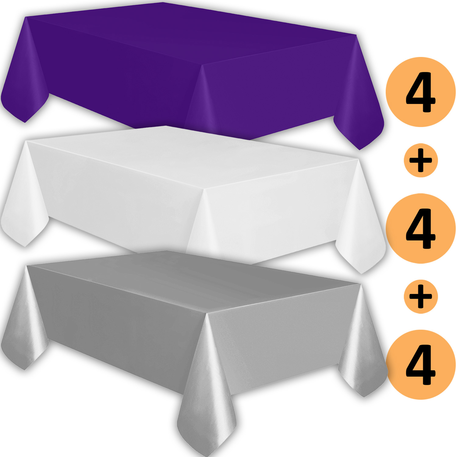 12 Plastic Tablecloths   Purple, White, Silver   Premium Thickness  Disposable Table Cover, 108 X 54 Inch, 4 Each Color